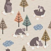 Lewis & Irene - Bear Hug - 6180 - Bears Playing on Pale Beige  - A311.1 - Cotton Fabric